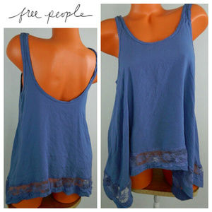 Intimately FREE PEOPLE Small TANK TOP Blue Lace